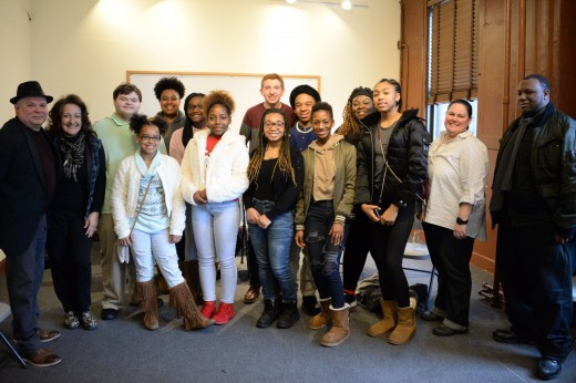 Frank Calo (left) and Julianne Neal with the students and fellow hosts, Melissa McCrary and Tylone Love.