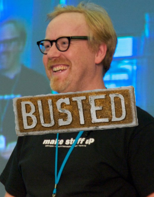 Yes, it does say MAKE STUFF UP on his T-Shirt. It seems that Adam Savage made up his defense against the AT&T bill he rightfully incurred. What else has he made up? Does he belong as the host of a popular SCIENCE show if he's a liar?