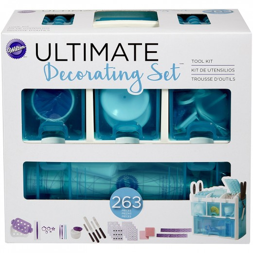 Wilton Ultimate Cake Decorating Kit With a see-through Tool Case is good for Beginners and Professionals alike.  It has just about everything you could possibly need in this kit.