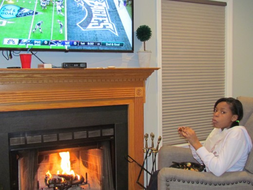 One of our young ladies enjoyed the game as she sat by the fire.