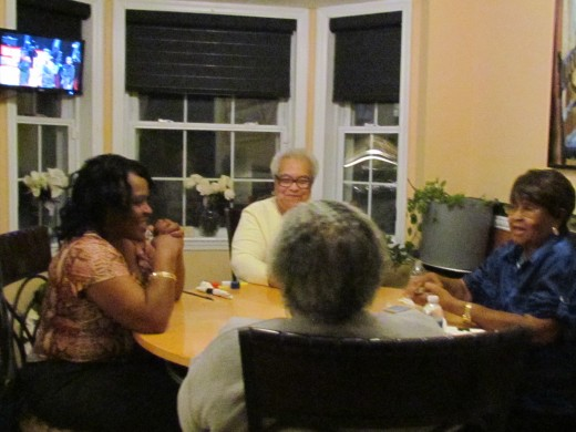 Three of our guests along with Mom Carter, played the card game pinochle during and after the game. Although they thoroughly enjoyed the game and the food. Walker, would always have his family over during special games like the Super Bowl.