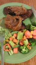 Steak With Spiced Caramel Sauce and Sauteed Veggies