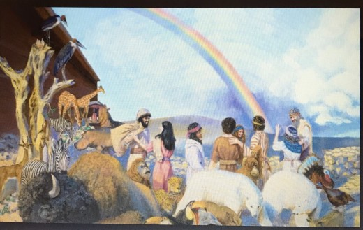 Noah and his families went out to worshiped the Lord