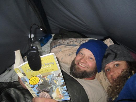 Reading together on a camping trip