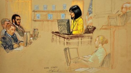 Pentagon-approved image of a sketch by artist Janet Hamlin. Here, Arlette Zinck testifies in a military trial of Omar Khadr on Oct. 28, 2010 in Guantanamo Bay, Cuba. Staff Sgt. Sarah Hawley is the court reporter. depicted in the drawing