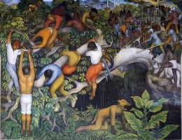 "Mural ""Crossing the Barranca,"" by Diego Riviera.  In the Cortez Palace, Cuernavaca"