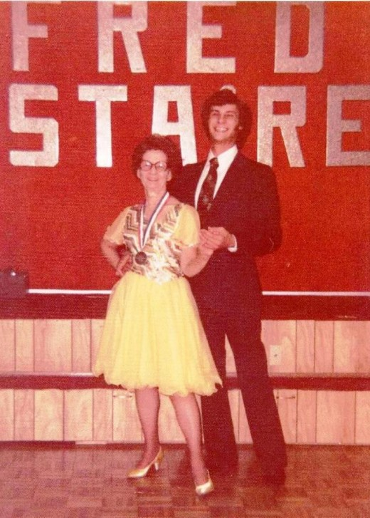 At a Ballroom Dance Contest with her partner in the seventies.
