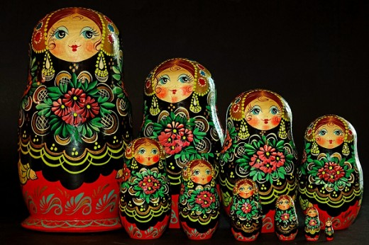Matryoshka dolls are often designed to follow a particular theme as seen in this image that consists of a set of ten dolls.