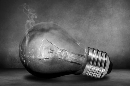 A Smoking Broken Light Bulb