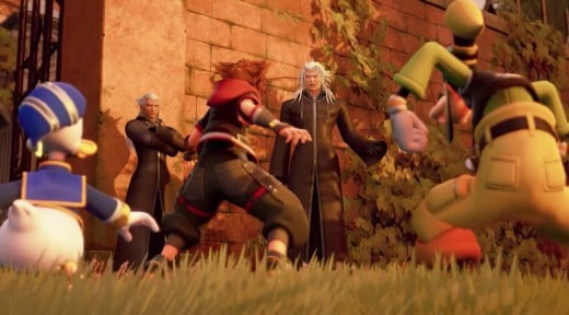 Sora and friends encounter Xemnas and Ansem in Twilight Town.