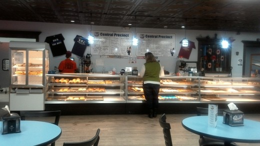 Sondra picking out some doughnuts for the kids