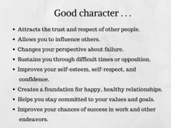 Characteristics of a Good Guy