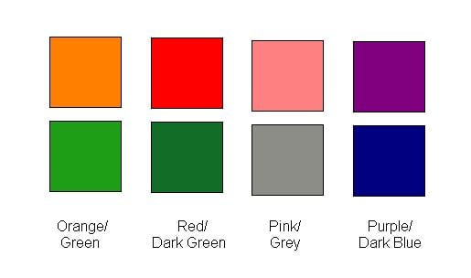 These pairs of colours are all the same.