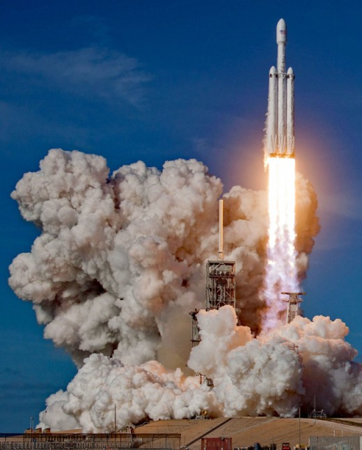 Space X's Falcon Heavy takes of on February 6th, 2018.