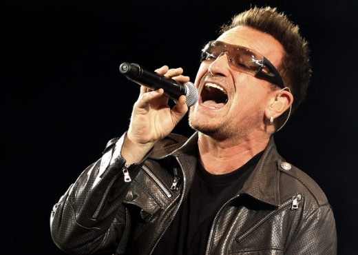 Bono was born Paul David Hewson. He is shown here in his trademark dark glasses, which he wears because he suffers from glaucoma, a condition he has had for decades.
