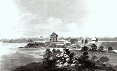 1819 charcoal drawing by John Elliott Woolford of what has become a National Historic Site