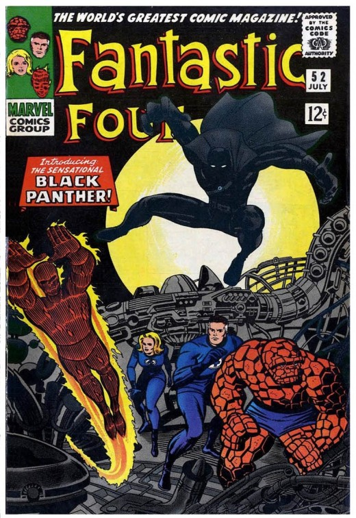 First Appearance of Black Panther in the 1966 issue of Fantastic Four #52. Copyright 1966, 2018 Marvel Comics Group.