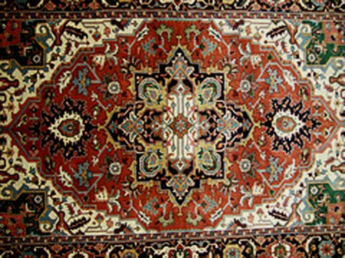 An Oriental rug is a great way to pull in colors from the room.