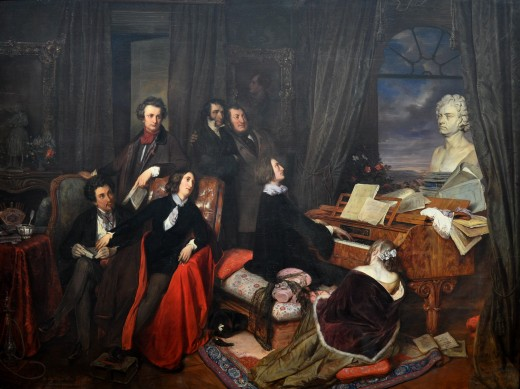Painting of Liszt playing the piano