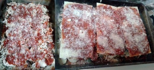 The final layers before cooking.