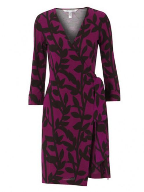 Graphic purple and black patterns are von Furstenberg's signature design.