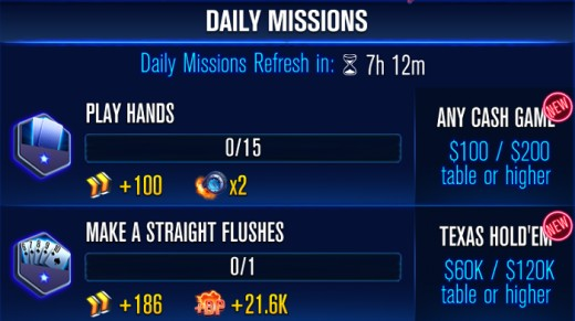 The WSOP Poker missions screen.