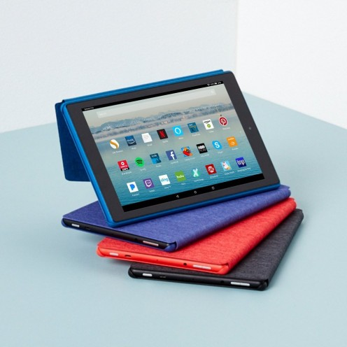 The all-new Fire HD 10 tablet comes in 3 different colors - black, marine blue, and punch red
