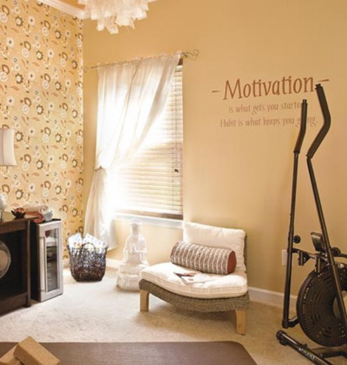 Even a small bedroom can be transformed into a lovely workout space.