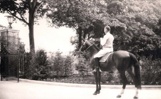 Irving Reuter, lord of the manor, on a favorite mount in 1928