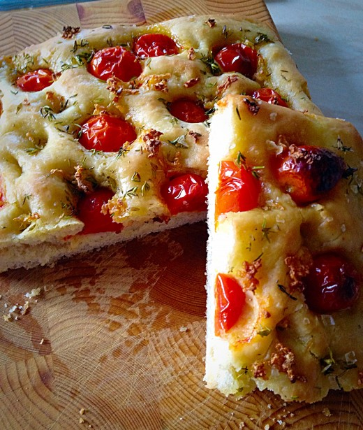 Cherry Tomato Focaccia with Parmesan Cheese