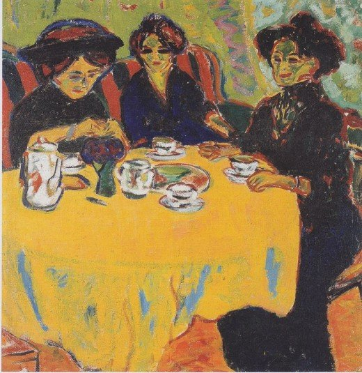 """Painting Entitled """"De Kaffetafel"""" (The Coffee Table) by Ernest Ludwig Kirchner (1880-1938)"""