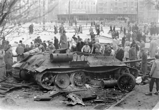 A destroyed tank in Budapest, 1956 during the Hungarian revolution.