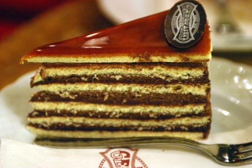 Dobos Torte, a traditional 5 layer Hungarian sponge cake coated with chocolate buttercream.
