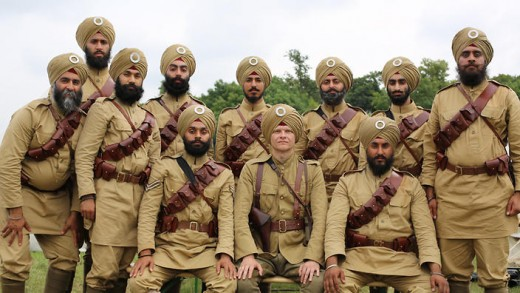 English officer with his Sikh soldiers