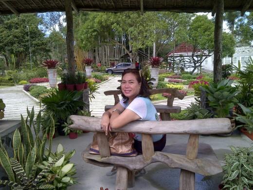 Yvette enjoying the garden setting at Mings