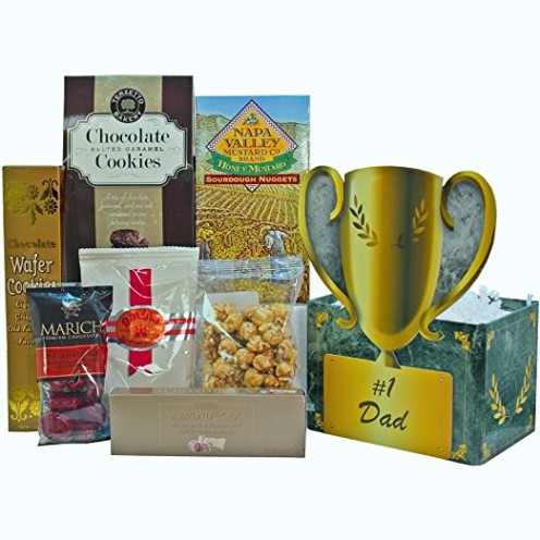 No. 1 Dad Food and Snacks Trophy Gift Basket