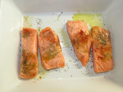 frozen salmon cutlets before popping them into the oven