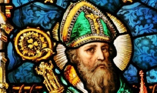 A stained-glass painting of Bishop St. Patrick.