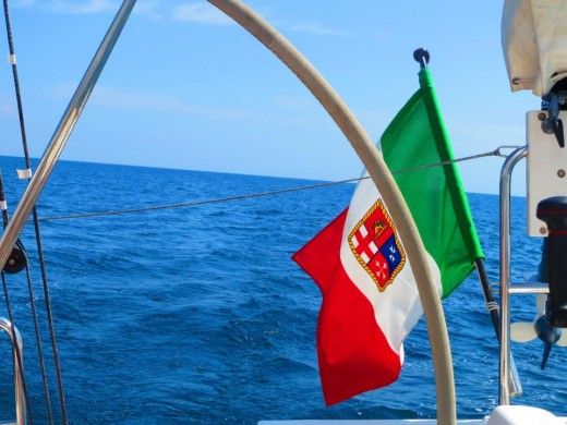 Sailboat sporting the Italian flag, of course!