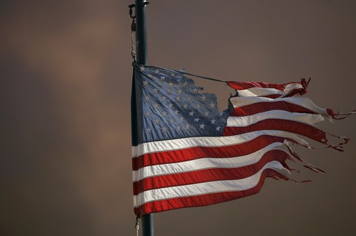 American Flag in Tatters
