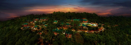 Aerial view of Kasauli at night