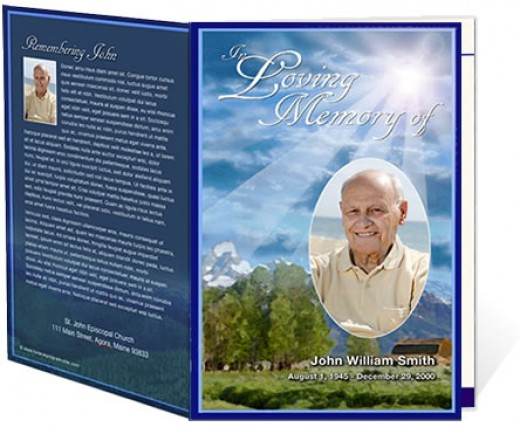 An example cover for a funeral obituary program sample courtesy from The Funeral Program Site.