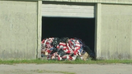 Flag 'Storage' at a Veterans Cemetery in Rhode Island.