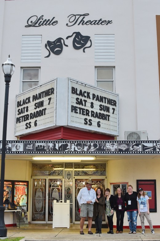 Bruce Anderson, Julianne Neal, Lisa Diersen, Diana De Rosa, Roslyn Moore and Rebecca Reichel in front of The Little Theater where the films were shown.