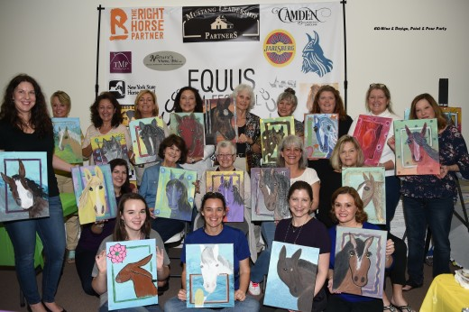 Happy women after enjoying the EQ-Wine & Design, Paint & Pour Party.