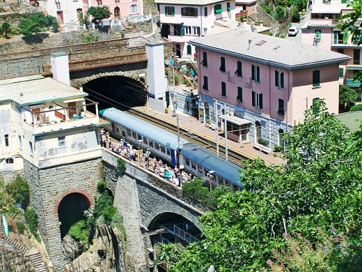 The train station at Riomaggiore, accessed by  a tunnel under the rocks