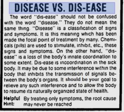 Disease Vs Dis-Ease....