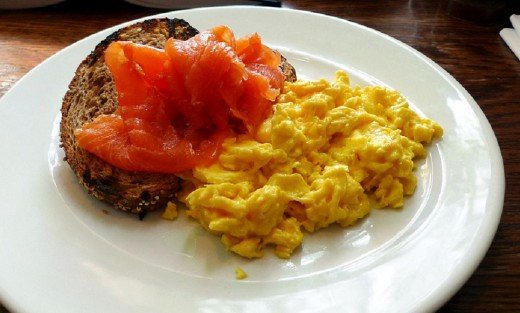Scrambled eggs go well with smoked salmon.