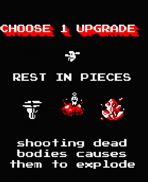 A screenshot of the upgrades screen that appears at the end of levels.