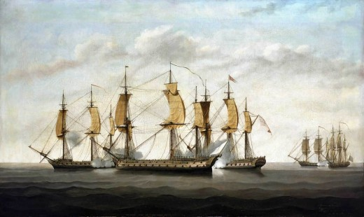 French corsairs and English trading ships fighting in the Indian ocean in 1757 : in this time, the conflict would probably be against the Dutch instead.